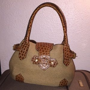 ERIC JAVITS CROC LEATHER WEAVE BAG